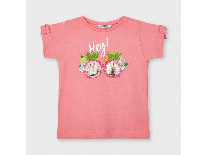 Dívčí triko s krátkým rukávem a aplikací Mayoral 3016