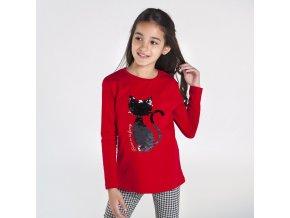 Dívčí triko s dlouhým rukávem a flitrovou kočkou Mayoral 7080