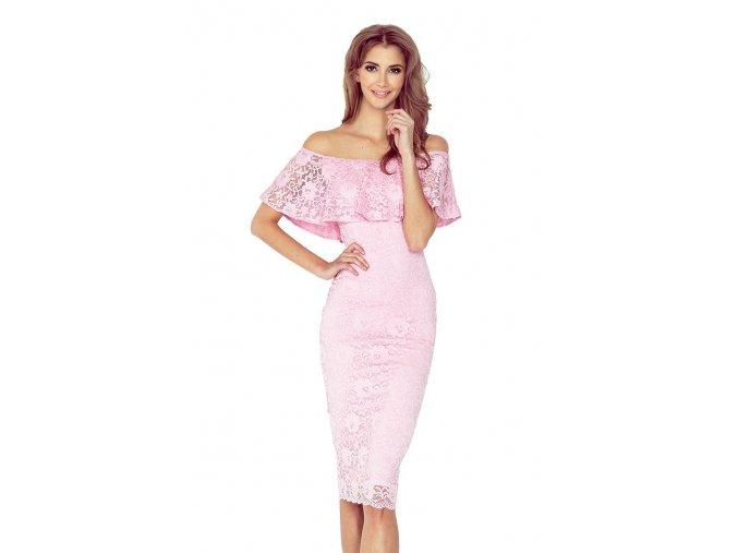 Šaty s čipkou ružové