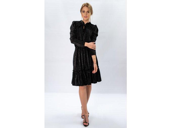 Lesklé šaty s dlhým rukávom