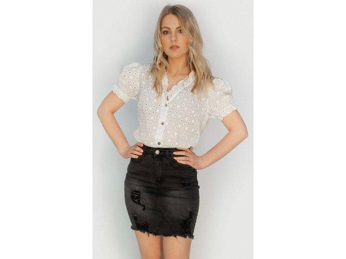 Riflová mini sukňa