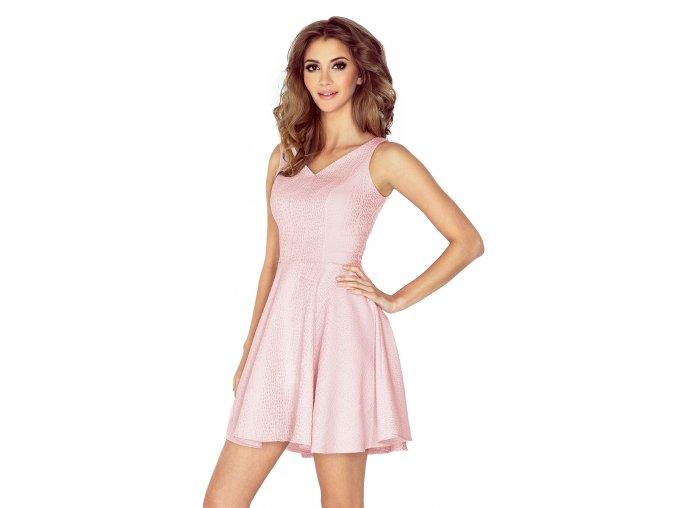 MM 014-5 Šaty - srdce výstřih - kapky - pastelové růžová - SALE %