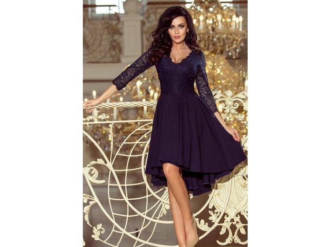 210-2 NICOLLE - Exkluzivní šaty s krajkou - tmavě modré