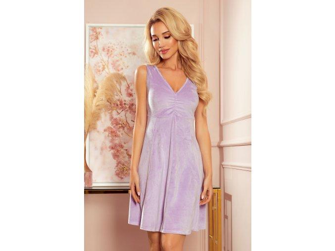 238-3 BETTY šaty s výstřihem - vřesová barva