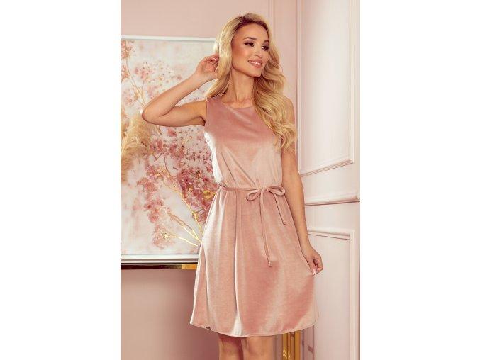 296-7 VICTORIA Trapézové šaty - velur - špinavě růžové