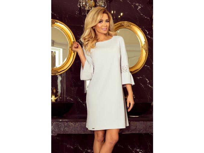190-2 MARGARET šaty s krajkou na rukávech - světle šedá
