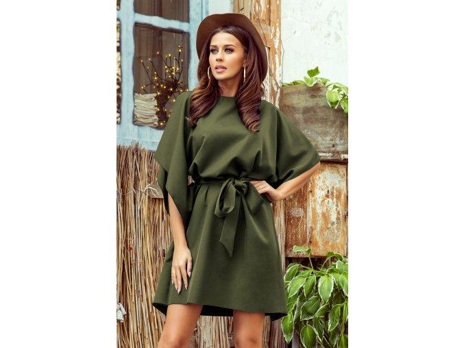 287-13 SOFIA Motýlkové šaty - KHAKI