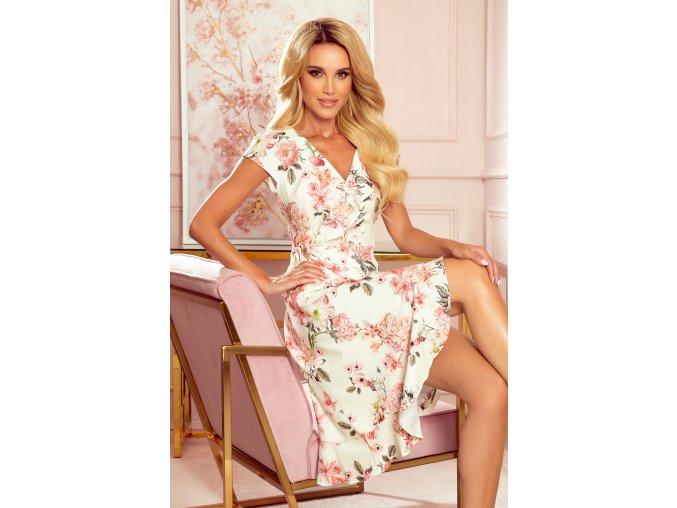 349-1 Zavinovací šaty s volánky - broskvové květy