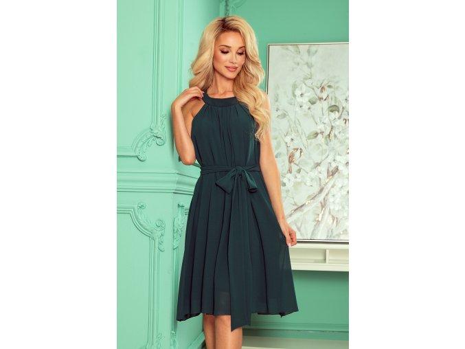 350-4 ALIZEE - šifónové šaty s vázáním - zelená barva