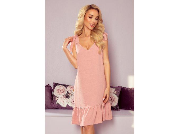 306-3 ROSITA Šaty s mašlemi na ramenou - pudrově růžová