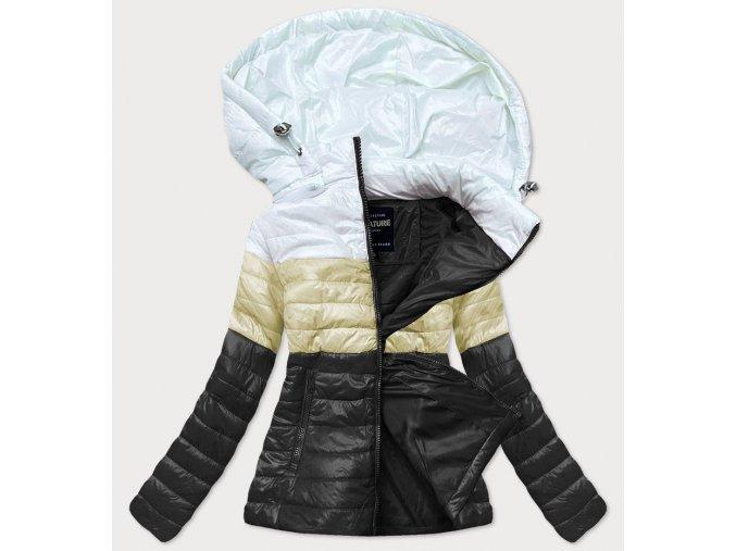 Trojfarebná prešívaná krátka bunda