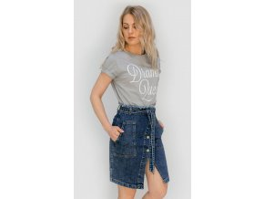 Riflová sukňa s opaskom