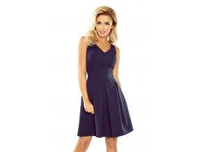 Šaty s výstřihem a kapsami - tmavě modrá 160-2