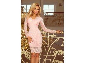 170-4 Krajkové šaty s výstřihem - pastelové růžové