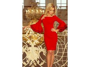 188-1 CARMEN Šaty se španělskými rukávy - červená