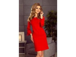 190-3 MARGARET šaty s krajkou na rukávech - červená