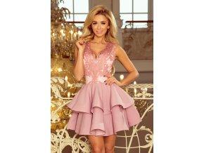 200-5 CHARLOTTE - Exkluzivní šaty s krajkou výstřihem - pastelové růžové