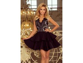 200-3 CHARLOTTE - Exkluzivní šaty s krajkou výstřihem - černé
