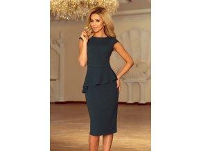 192-1 Elegantní midi šaty s volánky - zelené