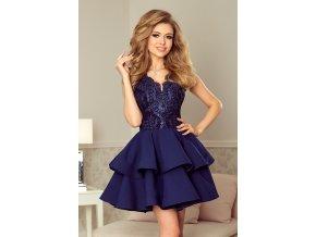 200-2 CHARLOTTE - Exkluzivní šaty s krajkou výstřihem - tmavě modrá
