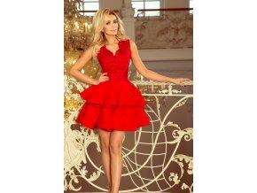 200-4 CHARLOTTE - Exkluzivní šaty s krajkou výstřihem - červená