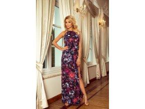 191-1 Dlouhé šaty svázaný u krku - fialové květy