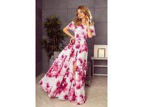 194-2 Dlouhé šaty s volánky - velké růžové květy