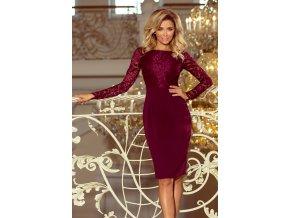 216-3 EMMA elegantní tužkové šaty s krajkou - burgundské barvy