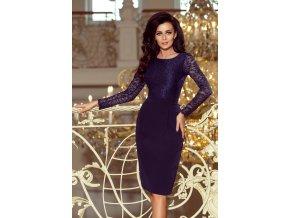 216-1 EMMA elegantní tužkové šaty s krajkou - tmavě modré