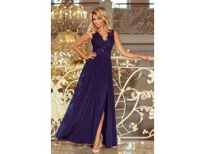 215-2 LEA dlouhé šaty s vyšívaným výstřihem - tmavě modré