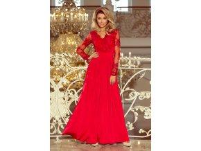 213-3 ARATI dlouhé šaty s vyšívaným výstřihem a dlouhými rukávy - červené