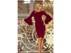 188-3 CARMEN Šaty se španělskými rukávy - burgundské barvy