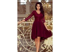 210-1 NICOLLE - Exkluzivní šaty s krajkou - burgundské barvy