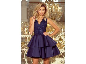 207-2 ALEXIS - Exkluzivní šaty s krajkou výstřihem - tmavě modrá
