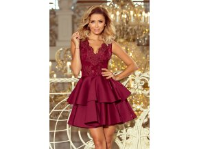 207-1 ALEXIS - Exkluzivní šaty s krajkou výstřihem - burgundské barvy