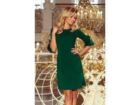 217-2 NEVA Trapézové šaty s mašlí - tmavě zelená