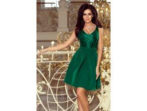 208-4 Šaty s krajkovým výstřihem a záhyby - tmavě zelená