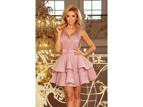 200-10 CHARLOTTE - Exkluzivní šaty s krajkou výstřihem - lila