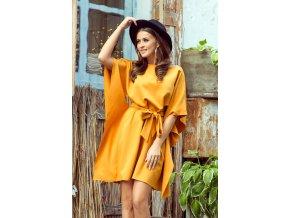 287-1 SOFIA Motýlkové šaty - medová barva