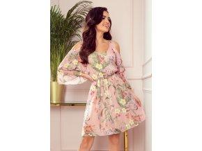 292-1 MARINA šaty s výstřihem - růžová s květinami