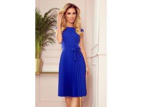 311-2 LILA Plisované šaty s krátkým rukávem - modré
