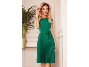 311-3 LILA Plisované šaty s krátkým rukávem - zelené