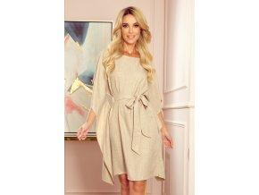 287-10 SOFIA Motýlkové šaty - vzor - béžové prádlo
