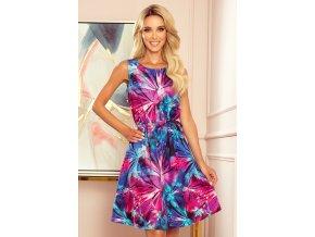 296-3 VICTORIA Trapézové šaty s modrými a růžovými květy
