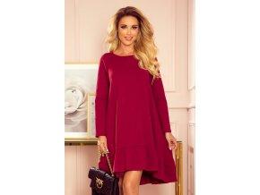 337-2 Lichoběžníkové šaty s volánkem - vínová barva