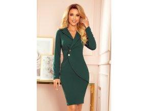 340-1 Předpokládané šaty s knoflíky a límcem - matně zelené