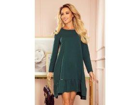 337-1 Lichoběžníkové šaty s volánkem - zelené