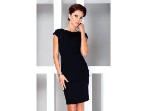 Elegantní šaty s krátkými rukávy - Cerna 37-3