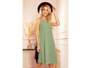 296-6 VICTORIA Trapézové šaty - olivová barva