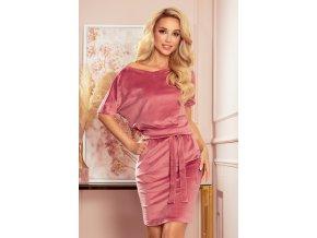 249-4 CASSIE - sametové šaty s krátkými rukávy - špinavě růžová